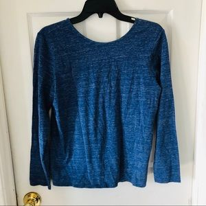 NWOT PURE JILL blue twist back long sleeve top SP
